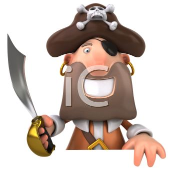 3D Pirate Holding a Sabre and Grinning