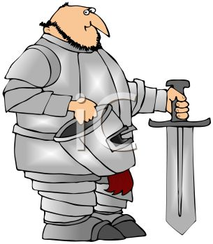 Cartoon of a Knight Holding His Helmet and a Sword