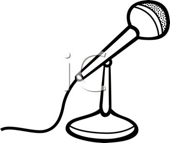 Black and White Cartoon Microphone Sitting on a Stand