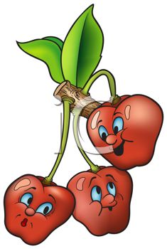 Cartoon of Healthy Food-Cherries on the Tree