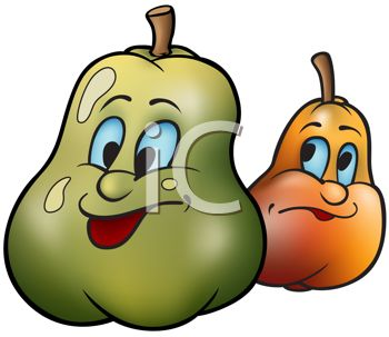 Cartoon of Healthy Food-Two Kinds of Pears