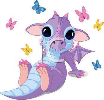 Cute Baby Dragon with Large Eyes and Butterflies