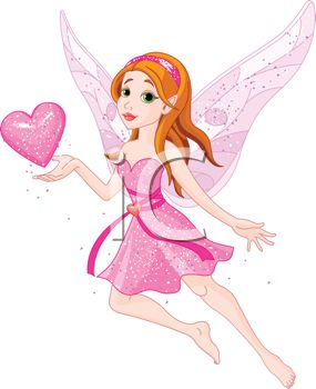 Sparkling Pink Faerie with Wings Holding a Heart