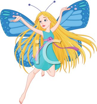 Pretty Blue Faerie with Her Arms Raised