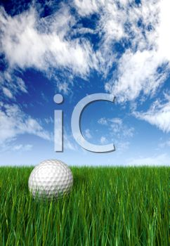 3D Golf Background Showing a Golf Ball Sitting in Grass