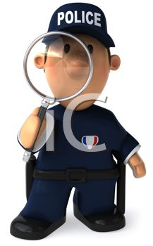 3D Police Officer Looking Through a Magnifying Glass