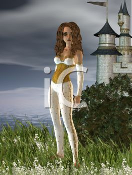 Sexy Woman Standing in a Field Outside a Castle - Royalty