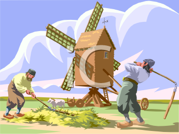 Dutch Men Working in a Field with a Windmill