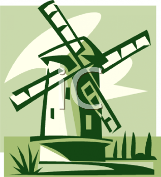 Simple Windmill - Royalty Free Clip Art Illustration