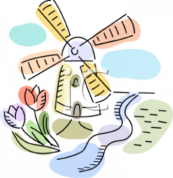 Cute Little Windmill by a Stream with Tulips