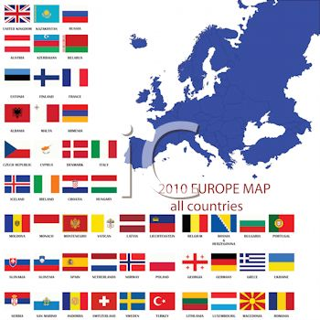 Flags from around the world on a map of europe royalty free clip art
