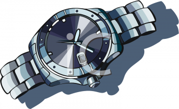 Realistic Masculine Watch with a Shadow