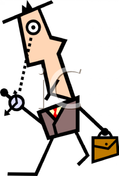 Cartoon Businessman Stick Person Looking at His Watch