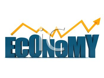 3D Economy Text with an Arrow Showing a Rise