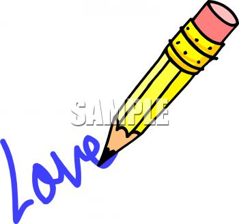 Cartoon of a Pencil Drawing the Word Love