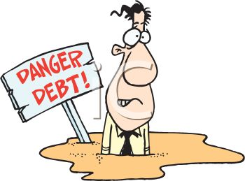 Royalty Free Clip Art Image: Cartoon of a Man Sinking in Debt
