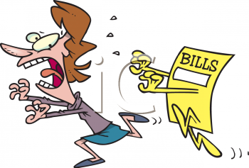 Cartoon of a Woman Being Chased by Her Bills