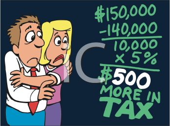 Cartoon of a Couple With a Tax Bill and Rising Interest Rates