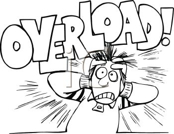 Black and White Cartoon of a Stressed Out Guy with the Word Overload