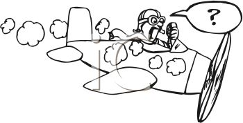 Black and White Cartoon of a Pilot in a Plane About to Crash
