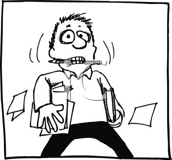 Black and White Cartoon of a Stressed Out Student Holding Papers
