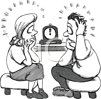 Black and White Cartoon of Parents Watching the Clock for a Late Child