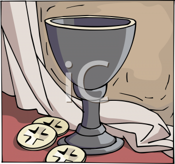 Religious Chalice of Wine with Unleavened Wafers