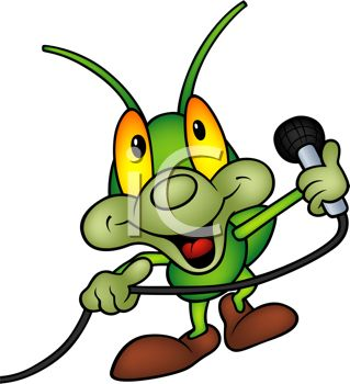 Cute Cartoon Grasshopper Performing with a Microphone
