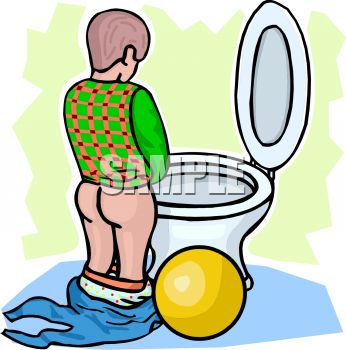 Cartoon of a Young Boy Learning to Use the Toilet