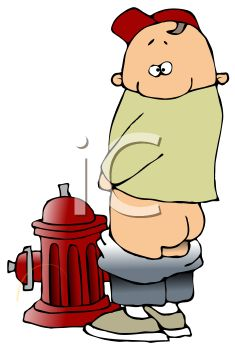 Cartoon of a Cute Little Kid Peeing on a Fire Hydrant