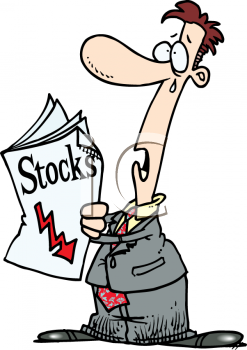 Cartoon of a Businessman Crying Over Dropping Stocks