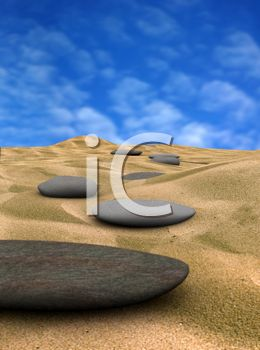 Realistic 3D Rocks on a Sandy Beach with a Blue Sky Background
