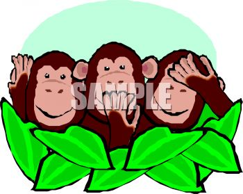 Cartoon of Hear No Evil Monkeys