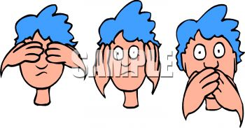 Blue Haired Boy Doing See No Hear No Speak No Evil