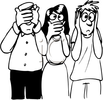 Black and White Cartoon of People Acting Out Hear No Speak No See No Evil