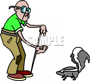 Cartoon of an Old Blind Man Trying to Feed a Skunk Mistaking it for a Squirrel