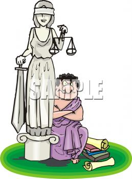 Cartoon of a Greek Lawyer in a Toga Sitting Next to a Statue of Lady Justice