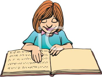 Cartoon of a Blind Girl Reading a Book in Braille
