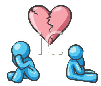 Two People with Broken Hearts - Royalty Free Clip Art Picture