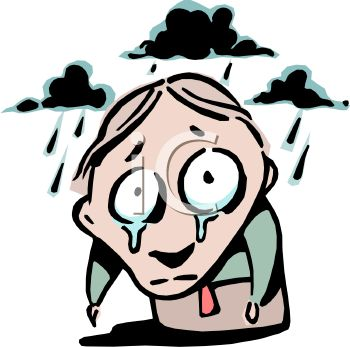Cartoon of a Gloomy Guy Standing in the Rain with Tears on His Face