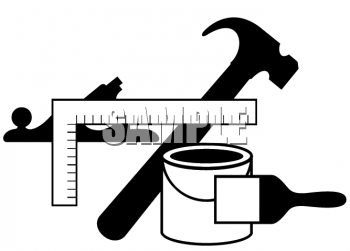 Black and White Icon for Home Improvement Tools