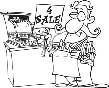 Black and White Cartoon of an Old Time Grocer Standing by His Cash Register