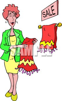 Sales Lady in a Housewares Department Holding a Towel