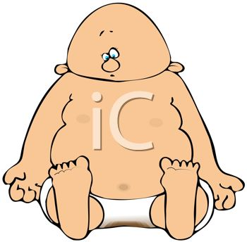 Cartoon of a Fat Baby with a Dirty Diaper