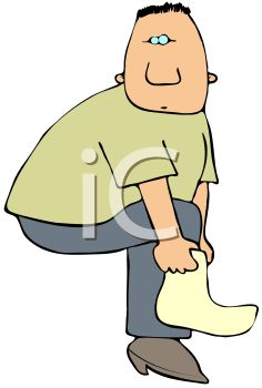 Cartoon of a Chubby Man Putting on His Sock