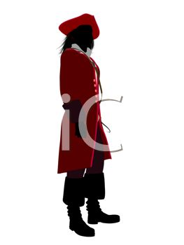 Silhouette of a Man Wearing a Pirate Costume