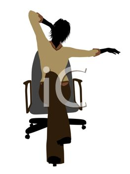 Silhouette Of A Woman Stretching In Desk Chair