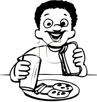 Black and White Cartoon of an Ethnic Boy Eating Lunch