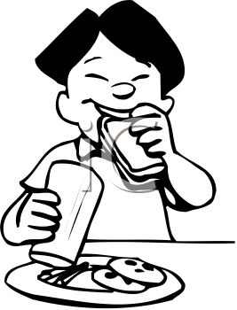 Black And White Cartoon Of An Asian Boy Eating Lunch At School