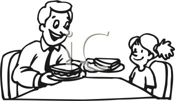 Black and White Cartoon of a Little Girl Eating a Sandwich with Her Dad